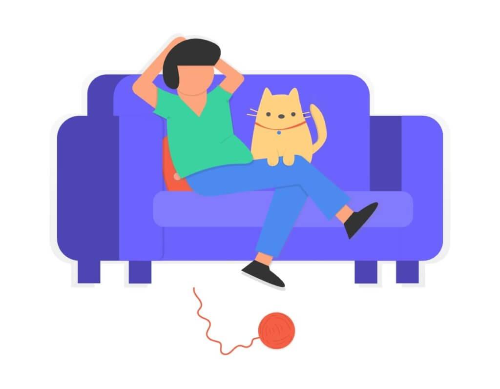 ソファでリラックスする人 イラスト