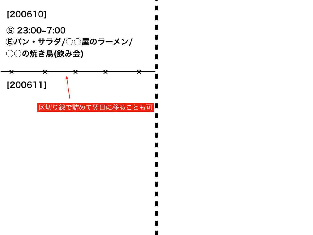 ライフログの区切り線