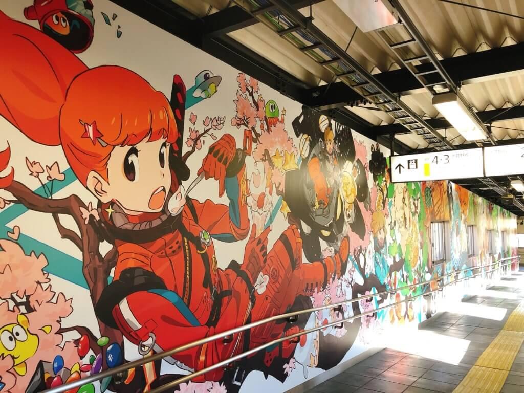 東所沢駅のウォールアート
