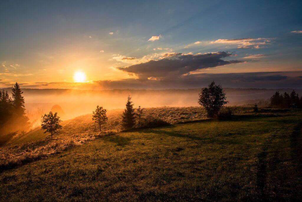朝日が昇る丘