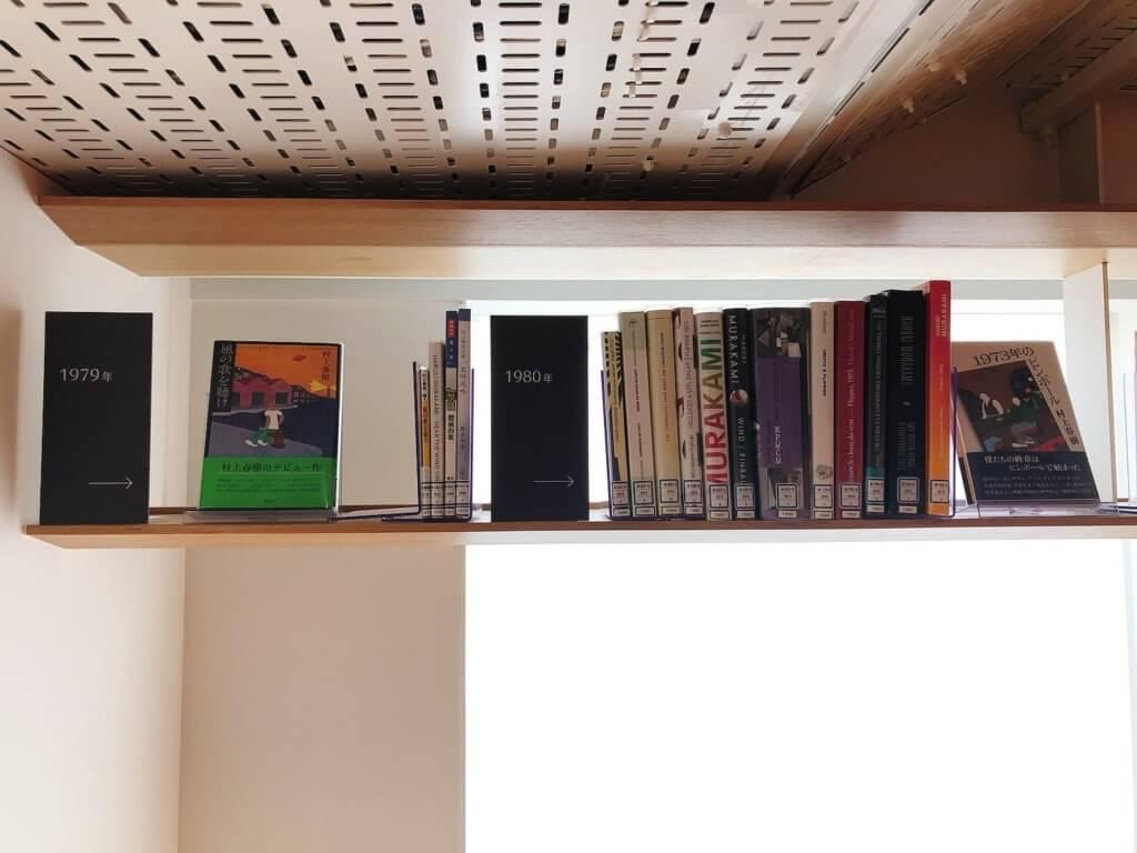 ギャラリーラウンジに並ぶ出版年代順の村上作品(1979-1980)
